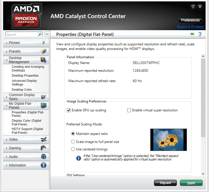 Enable GPU Scaling via AMD Catalyst Control Centre
